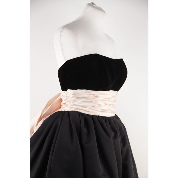 Victor Costa Vintage Black & Pink Bustier Prom Dress W/ Dip Hem Size 8 Opherty & Ciocci
