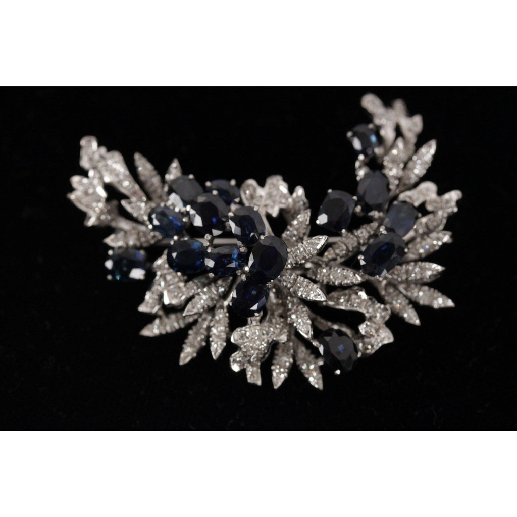 VINTAGE 18k White Gold BROOCH w/ Sapphires & Diamonds