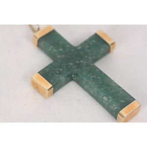 VINTAGE 18k Yellow Gold & Green Nephrite Jade CROSS PENDANT