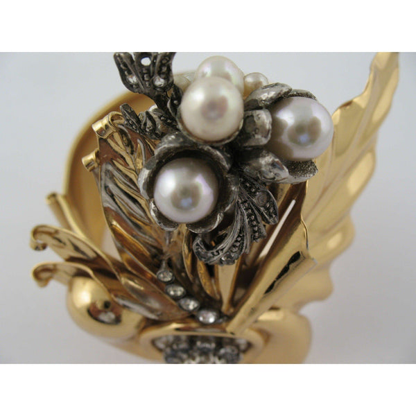 Vintage 70S Gold Metal Bracelet Bangle W/ Pearls & Rhinestones Opherty Ciocci