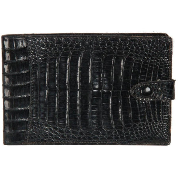 VINTAGE Black Crocodile Leather BIFOLD CHECKBOOK WALLET