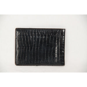 VINTAGE Black Crocodile Leather BIFOLD WALLET