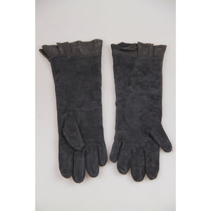 VINTAGE Black Suede PEPLUM GLOVES Elbow Lenght SIZE M