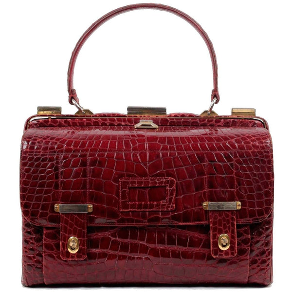 VINTAGE Burgundy CROCODILE Leather DOCTOR BAG Top Handle HANDBAG