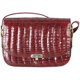 VINTAGE Burgundy CROCODILE SKIN Box SHOULDER BAG