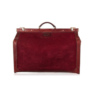 Vintage Burgundy Suede And Leather Travel Bag Carry On Suitcase Opherty & Ciocci