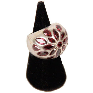 Vintage Indian Silver Statement Ring W/ Glass Crystals Opherty & Ciocci