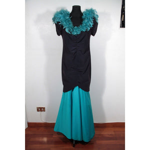 Vintage Italian Black & Turquoise Long Evening Mermaid Dress W/ Feather Trim Opherty Ciocci