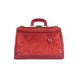 VINTAGE Italian Red Suede LARGE DOCTOR BAG Train Case BEAUTY Handbag