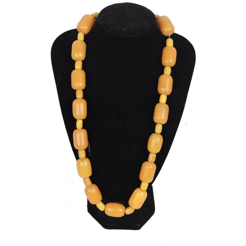Vintage Orange & Yellow Amber-Look Beads Necklace Opherty Ciocci