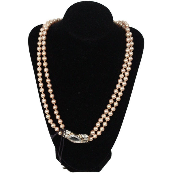 Vintage Small Faux Pearl Necklace 2 Strands Opherty & Ciocci