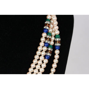 Vintage Small Faux Pearl Necklace 3 Strands Colored Stones Opherty & Ciocci