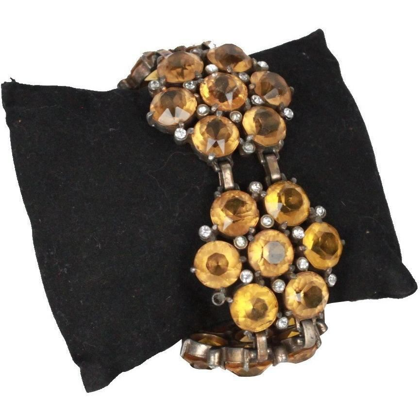 Vintage Yellow Rhinestone Flower Statement Bracelet Opherty & Ciocci