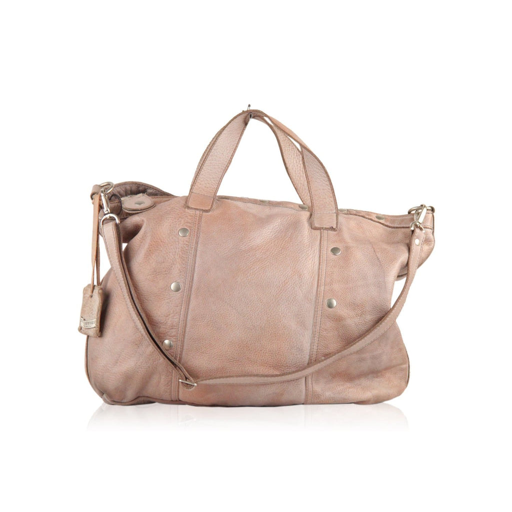 Vive La Difference Taupe Leather Shoulder Bag Tote Opherty & Ciocci