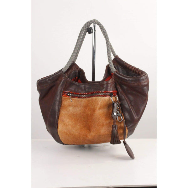 Tote With Pony Hair Panel Opherty & Ciocci