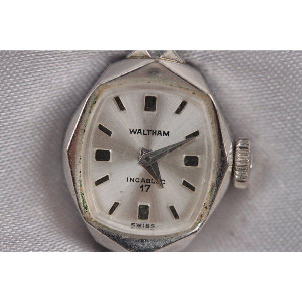 Waltham Vintage Incabloc 17 Silver Metal Ladies Small Wrist Watch Opherty & Ciocci