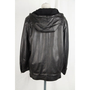 WEEKEND MAX MARA Black Leather ZIP Hooded JACKET Size 38