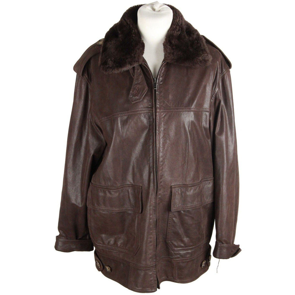 WEEKEND MAX MARA Brown Leather ZIP JACKET Size 40 - OPHERTY & CIOCCI