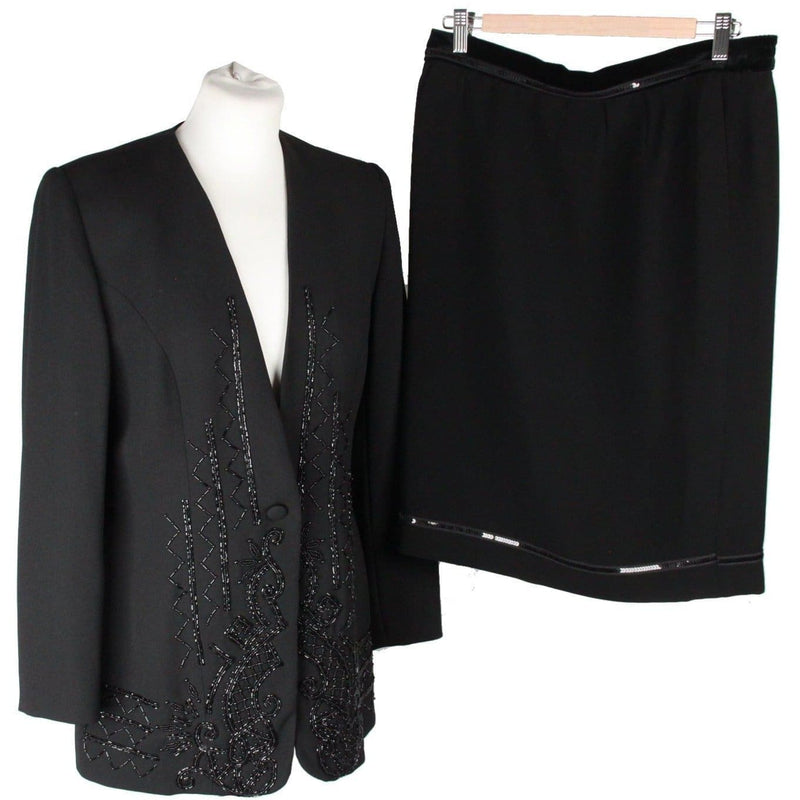 Weill Black Skirt Suit Jacket & Skirt Set W/ Beads Opherty & Ciocci