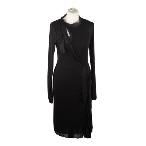 MARIELLA BURANI Black Silk Long Sleeve Dress Size 44
