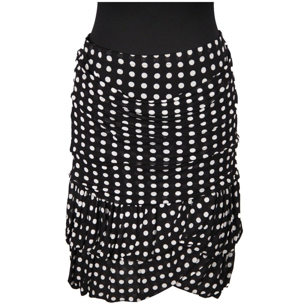 YVES SAINT LAURENT Black POLKA DOTS Viscose SKIRT Size S