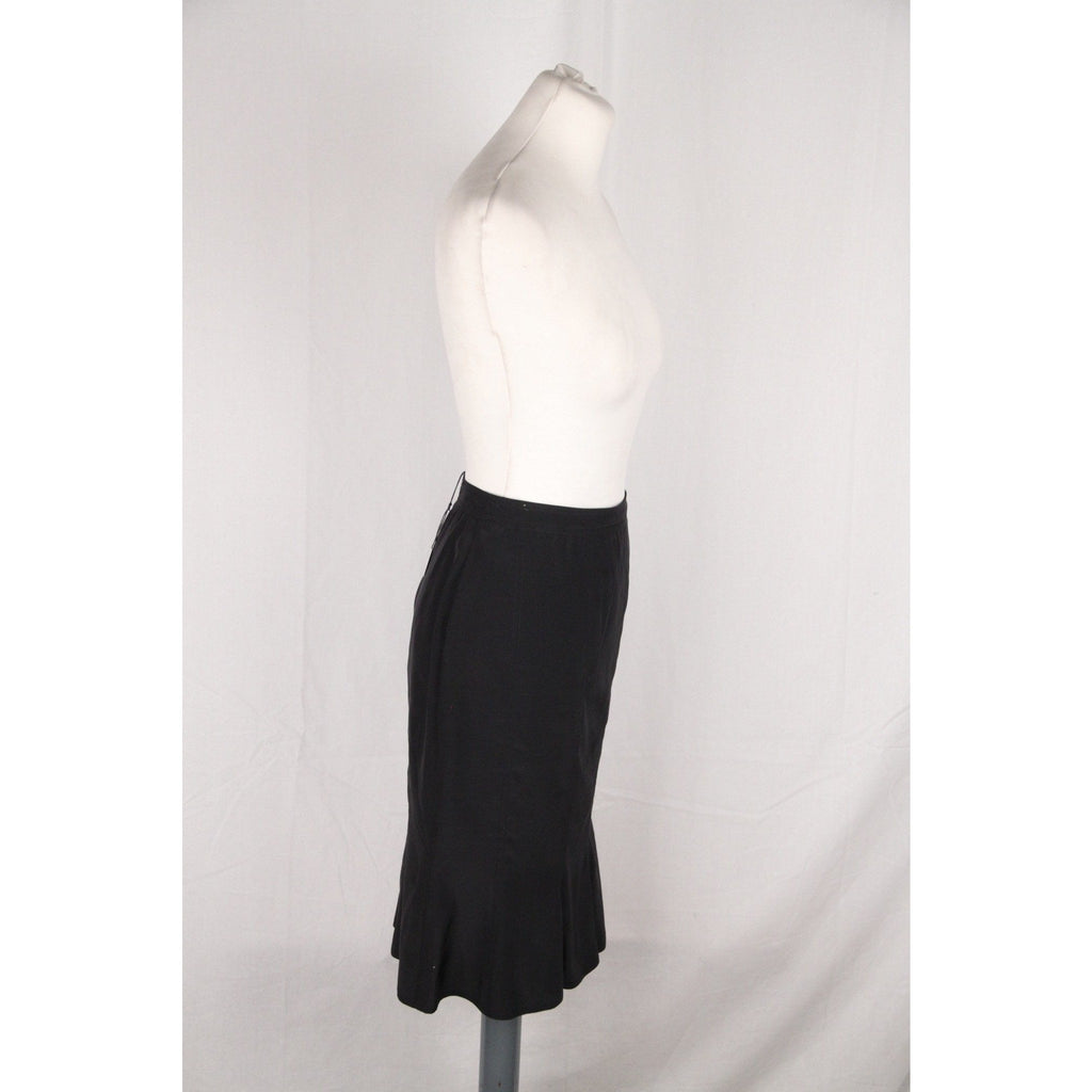 YVES SAINT LAURENT Black Silky SKIRT w/ Peplum Hem