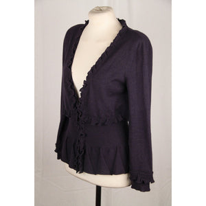 YVES SAINT LAURENT EDITION 24 Blue Ruffled CARDIGAN Size S
