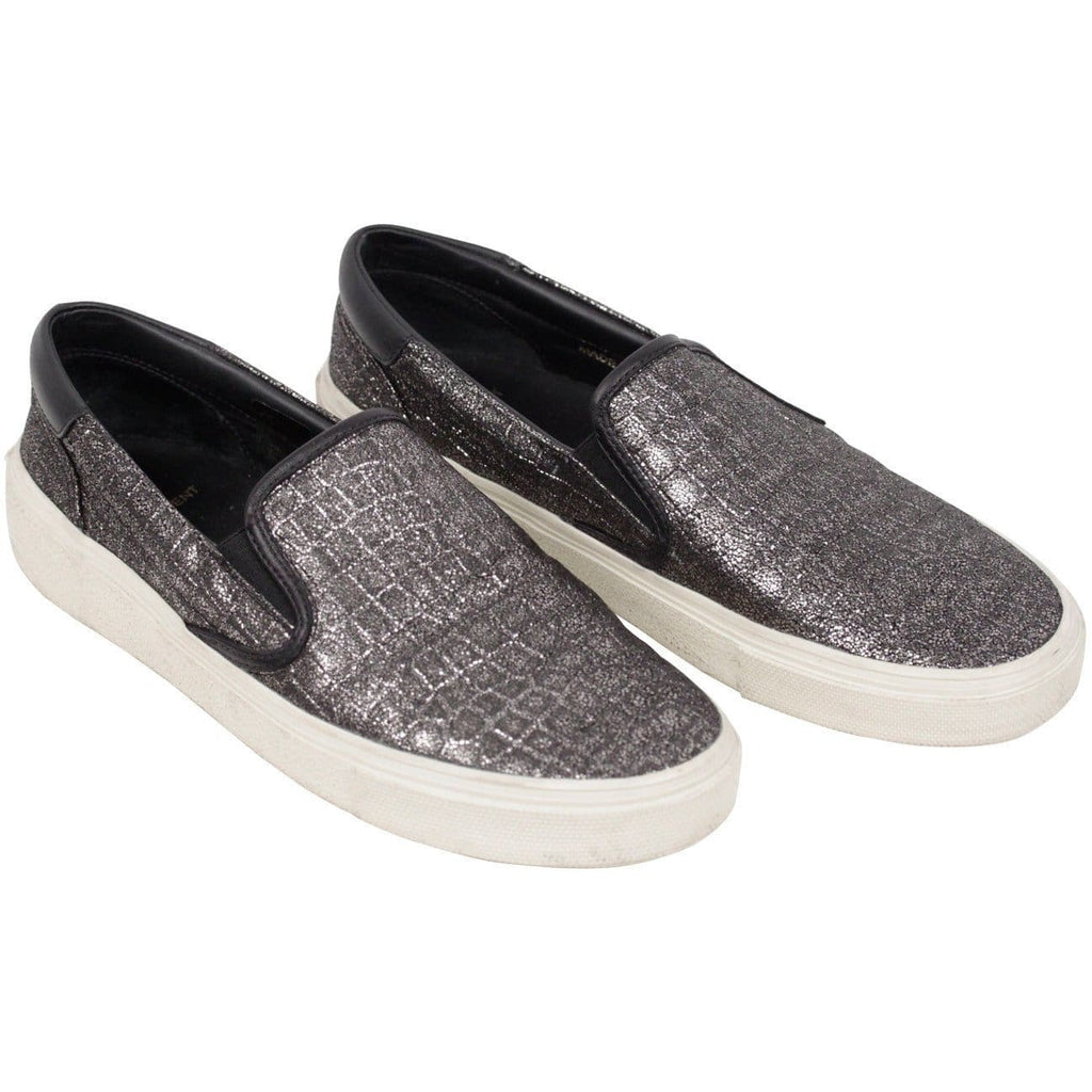 Saint Laurent Embossed Croc Look Metallic Skate Sneakers Slip On Size 39 Opherty & Ciocci