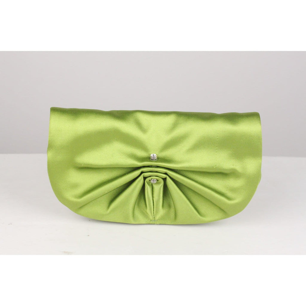 Green Satin Clutch Evening Bag Opherty & Ciocci
