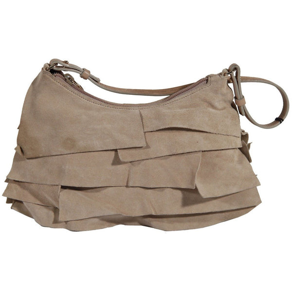d76766ad436a Home   New Arrivals   Opherty   Ciocci - Yves Saint Laurent Ivory Ruffled  Suede Small St Tropez Bag - Yves Saint Laurent