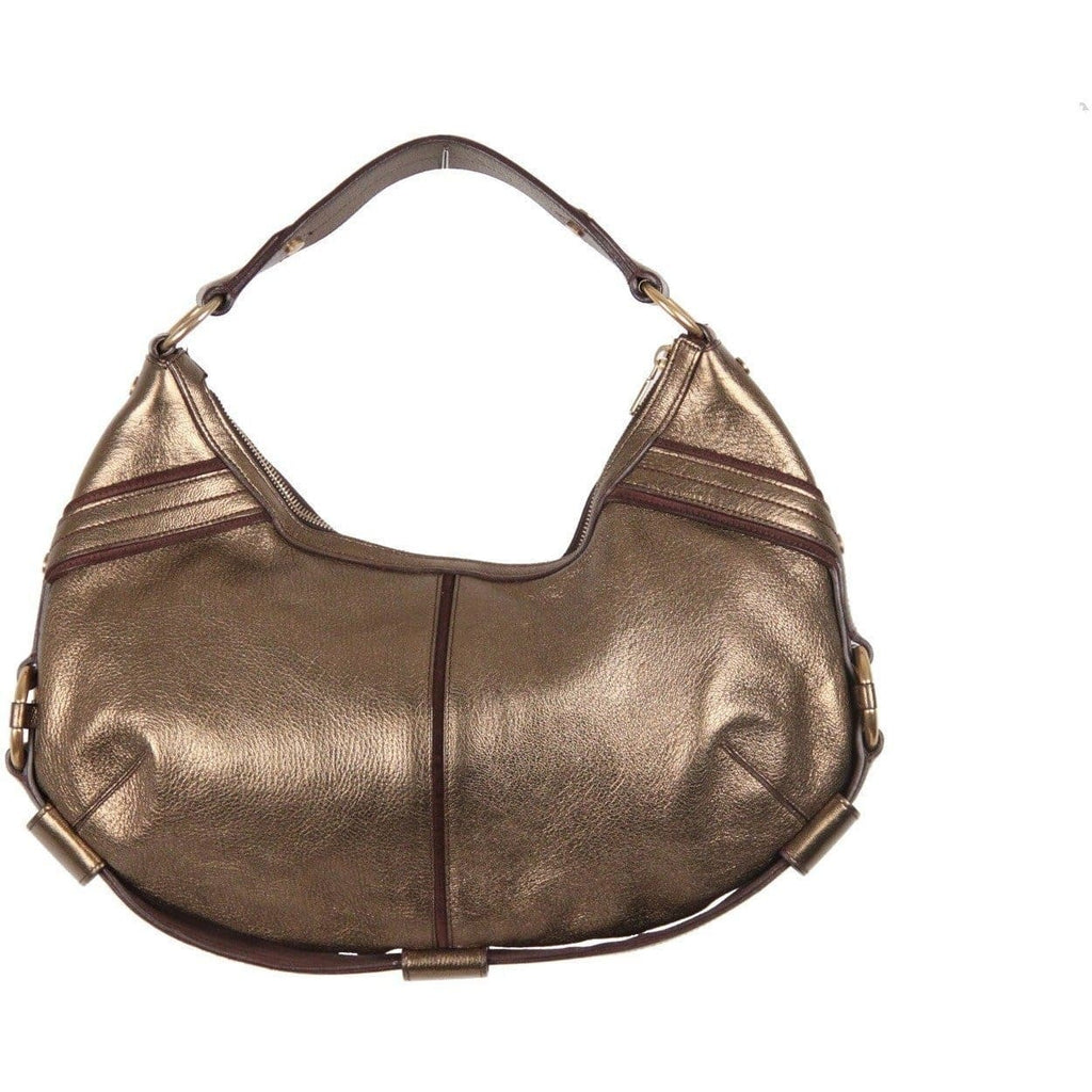 Yves Saint Laurent Rive Gauche Gold Tone Metallic Leather Hobo Opherty & Ciocci