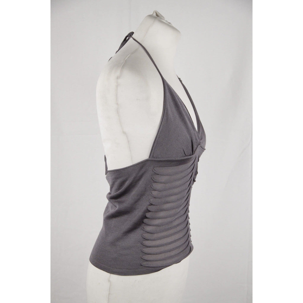 Yves Saint Laurent Rive Gauche Gray Silk Knit Halterneck Top Size M Opherty & Ciocci