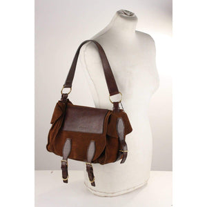 Suede And Leather Flap Shoulder Bag Opherty & Ciocci