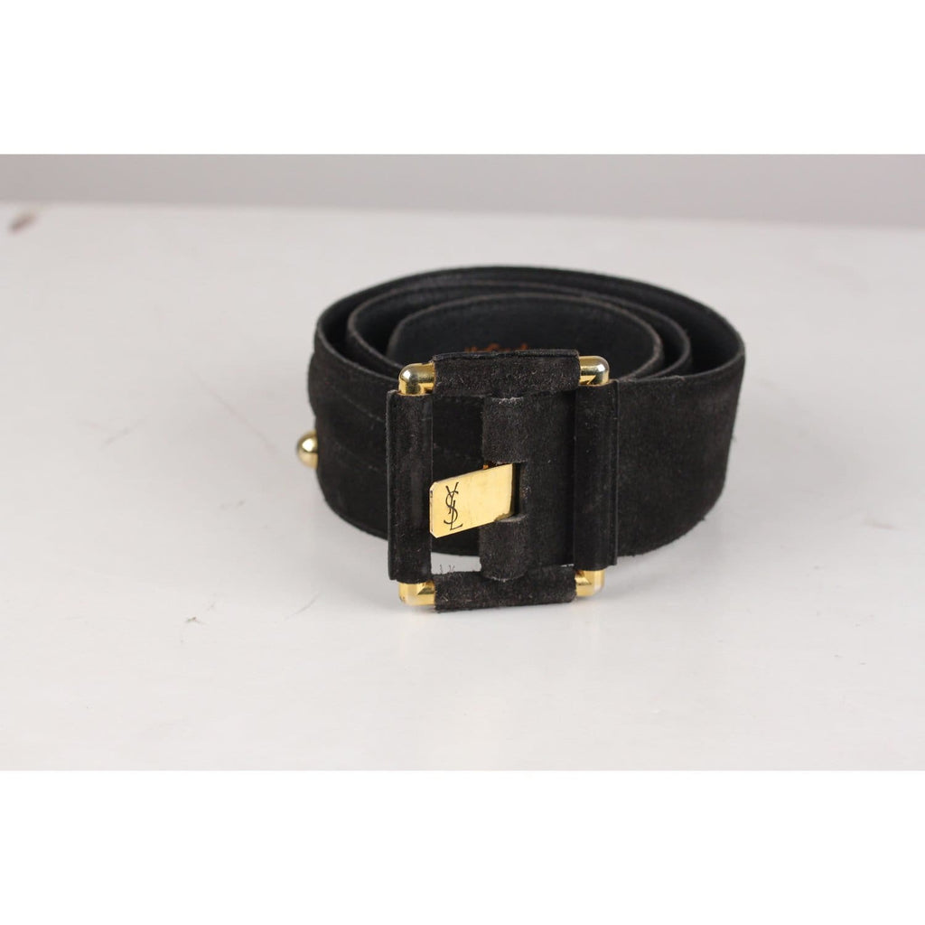 Vintage Black Suede Wide Belt Size 75/30 Opherty & Ciocci