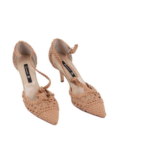 ZZ_FURNARI Tan Woven Leather T BAR HEELS Pumps SHOES Size 35 EM - OPHERTYCIOCCI