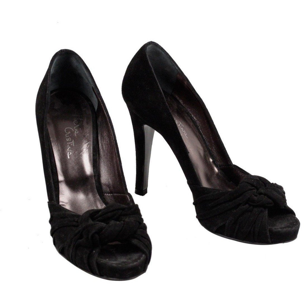 ZZ_MARIA CRISTINA Black Suede OPEN TOE PUMPS Heels SHOES Size 35 EM - OPHERTYCIOCCI