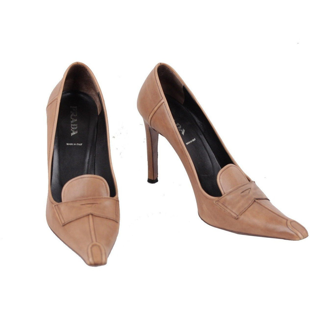 ZZ_PRADA Italian Tan Leather Pointed CLASSIC PUMPS Heels SHOES Size 39 - OPHERTYCIOCCI