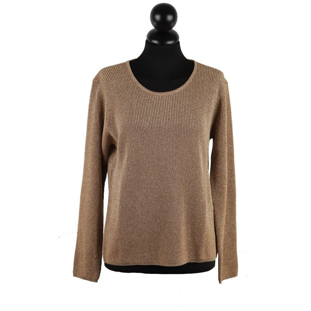 ZZ_ROSAMARE Gold Metallic KNIT Wool SWEATER Crewneck Jumper Made in Italy SIZE M - OPHERTYCIOCCI