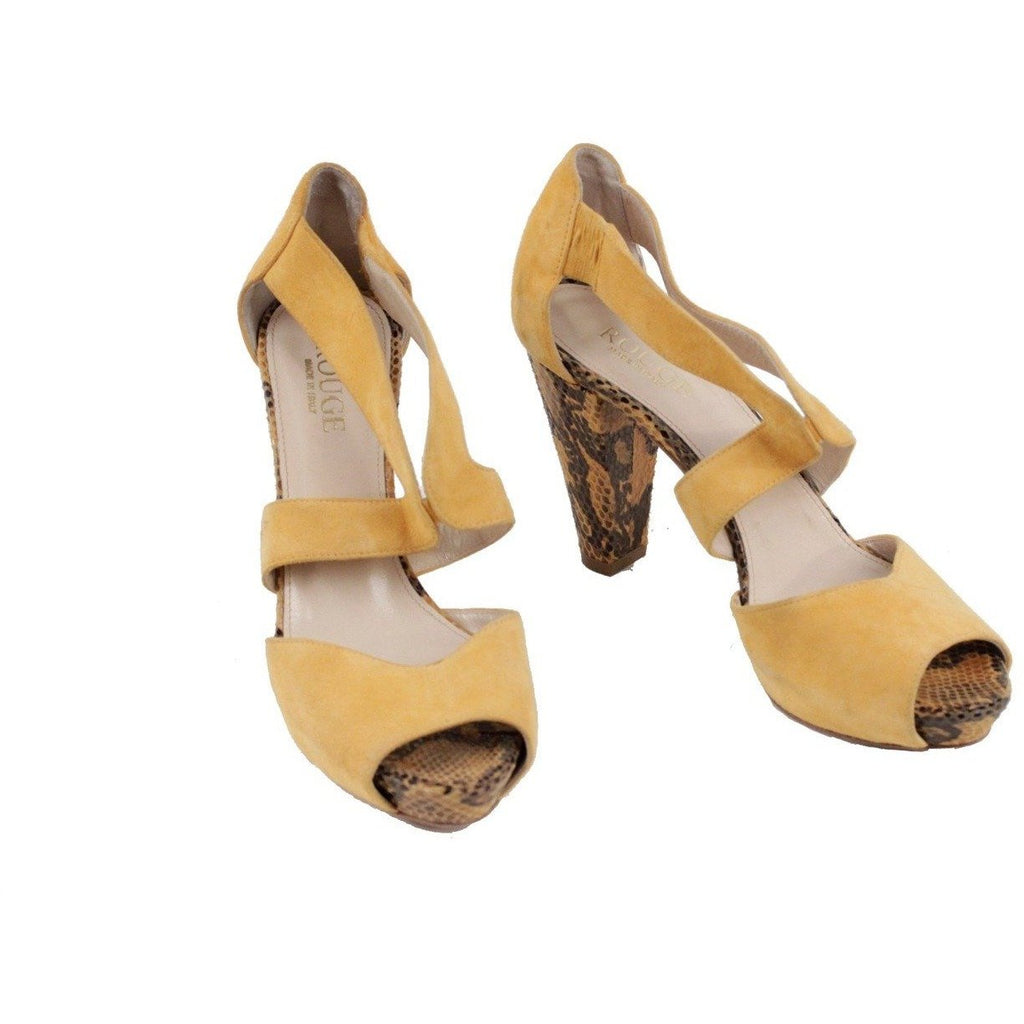 ZZ_ROUGE Yellow Suede SANDALS Shoes HEELS Reptile Look SIZE 37 EM - OPHERTYCIOCCI