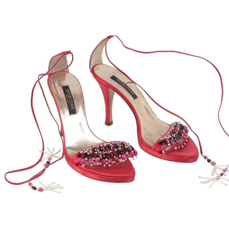 ZZ_SERGIO ROSSI Red Satin SANDALS Shoes HEELS w/ BEADING Size 36 EM - OPHERTYCIOCCI