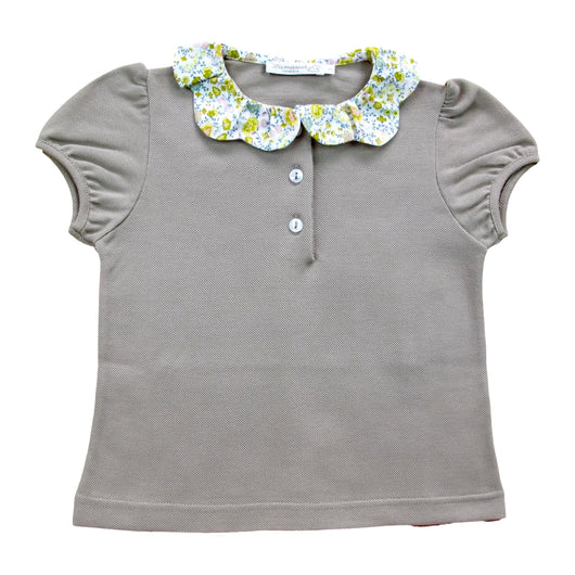 TAUPE POLO SHIRT WITH LIBERTY COLLAR