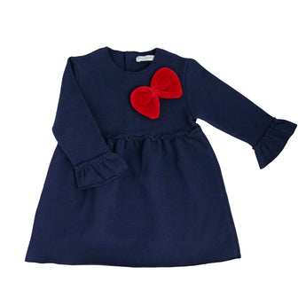 Blue girl dress with red ribbon