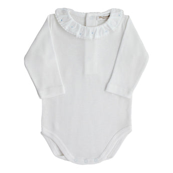 Baby bodysuit white long sleeves collar