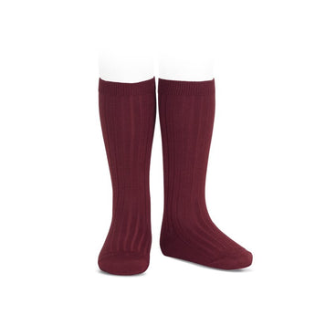 Children burgundy red knee-high ribbed socks condor