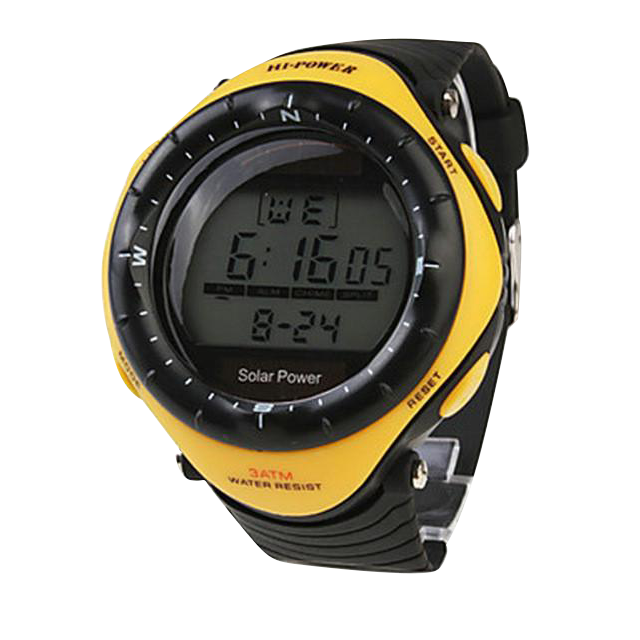 Multifunctional Solar Powered Watch, Yellow
