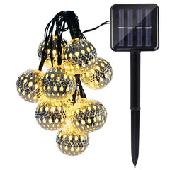 Set of 10 Globe LED Christmas Solar String Lights