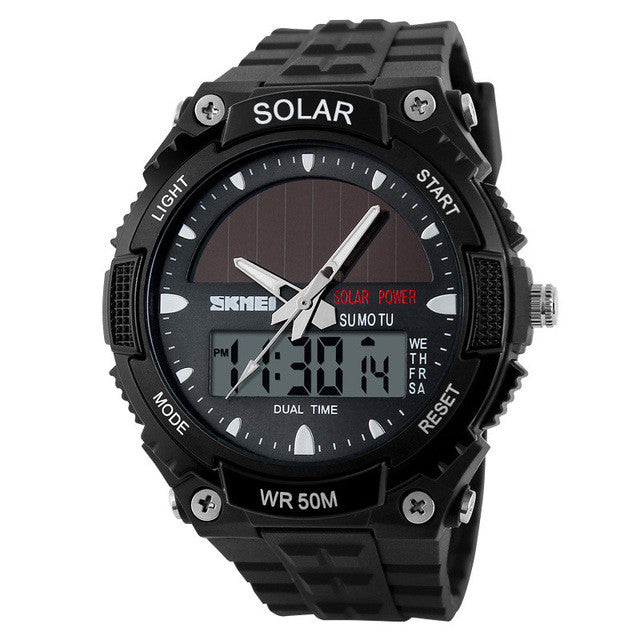 SKMEI Waterproof Solar Fitness Watch, Black