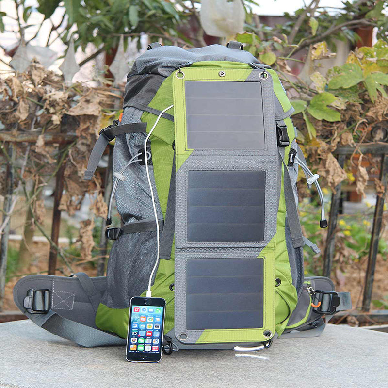 53L Travel Backpack with 10W Solar Panel, 2L Water Bag and USB