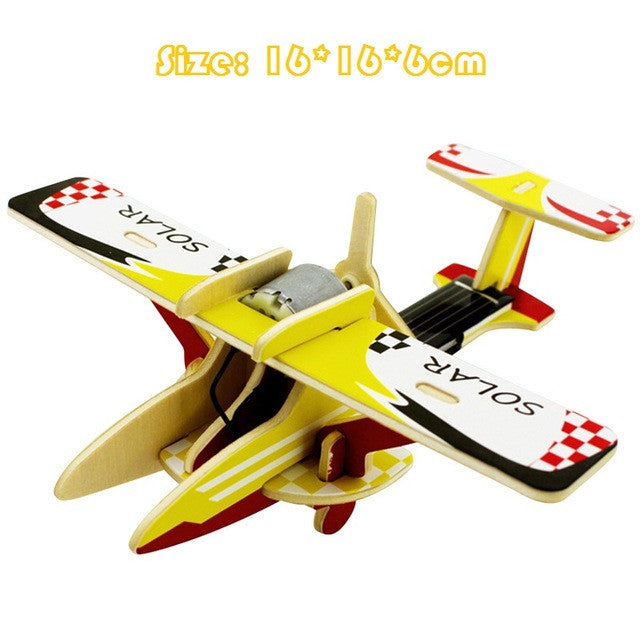 Wooden Solar Powered 3D Aircraft Puzzle