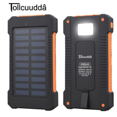 Tollcuudda 10000mAh Waterproof Solar Charger Dual USB Port and LED Light